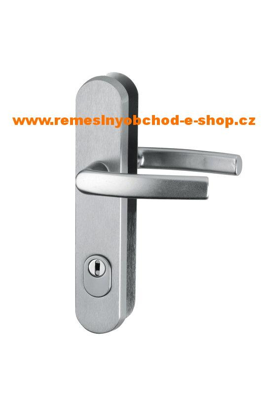 Bezpečnostní klika-klika s překrytim vložky roz.90 bezpečnostní klika-klika,elox-stříbrný