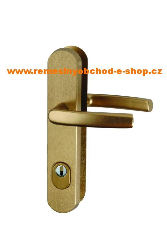 Bezpečnostní klika-klika s překrytim vložky roz.90 bronz bezpečnostní klika-klika,bronz
