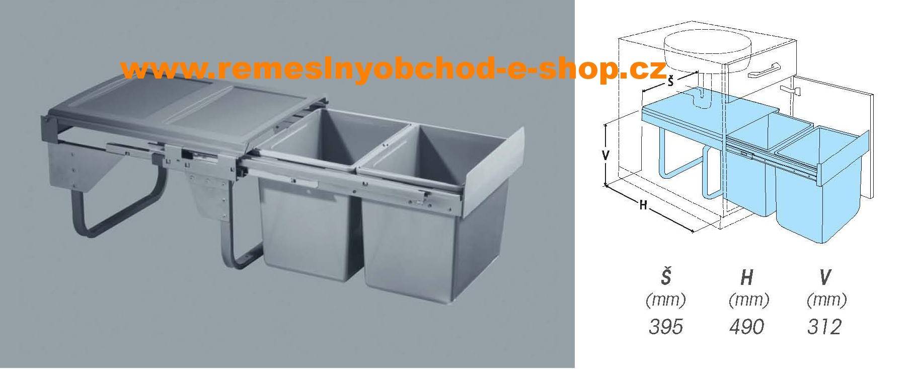 Výsuvný odpadkový 2- koš Komfort, 2x15 l, K45-šedý plast Tento druh odpadkového koše je určen pro umístění pod dřez.