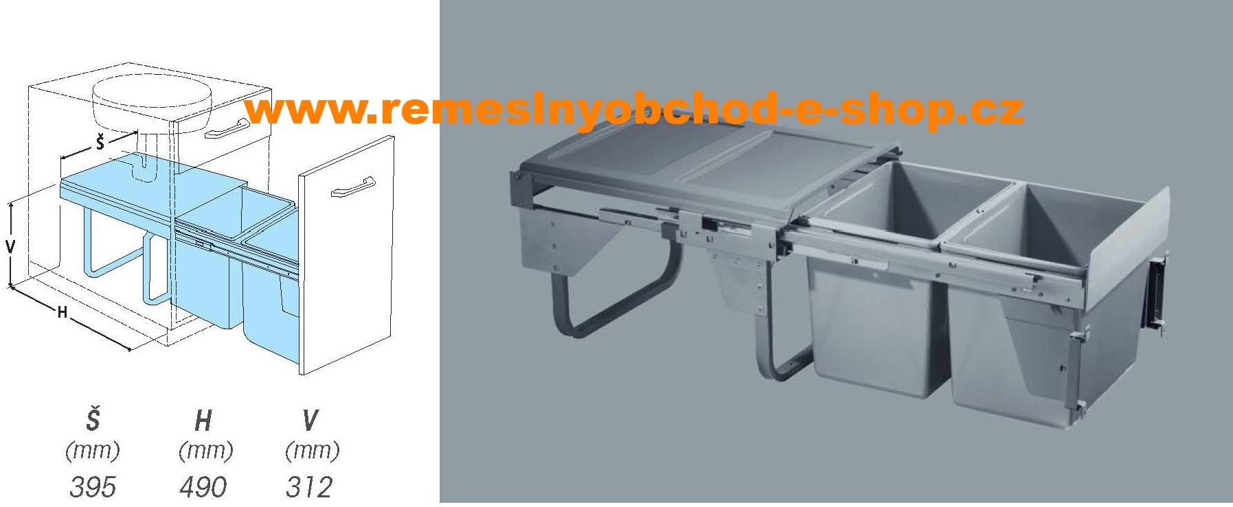 Výsuvný odp. 2koš Komfort s úchyty dvířek, 2×15 l, K45, šedý plast Tento druh odpadkového koše je určen pro umístění pod dřez.