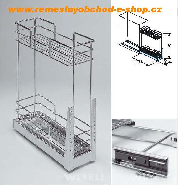 plnovýsuvný dvojkoš spodní s tlumeným dovřením, 260x470x510 mm, chro Vhodný do spodních skříněk kuchyně